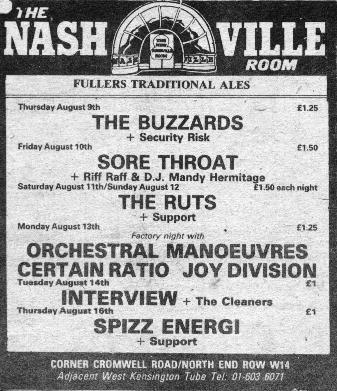Joy Division Concert 13th August 1979 Nashville Rooms London